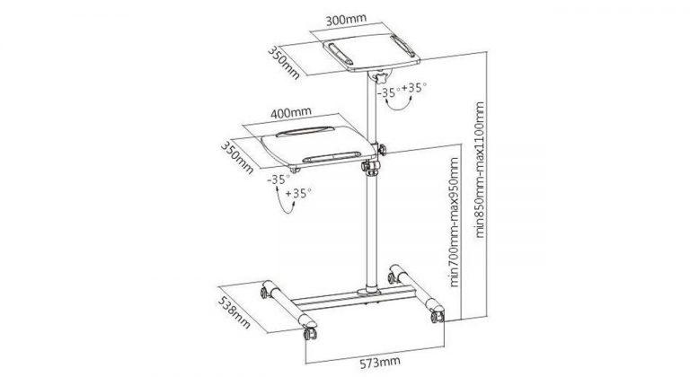 پایه پروژکتور پرتابل مدل چرخدار دو طبقه